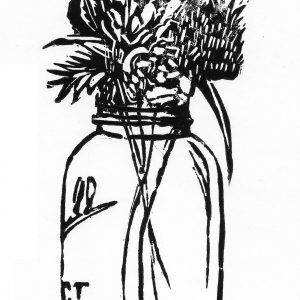 canning jar block print with flowers